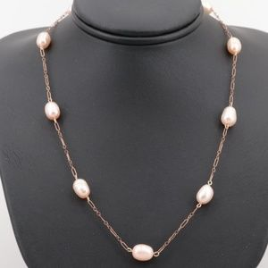 Red Rose Pearl Figaro Endless Necklace